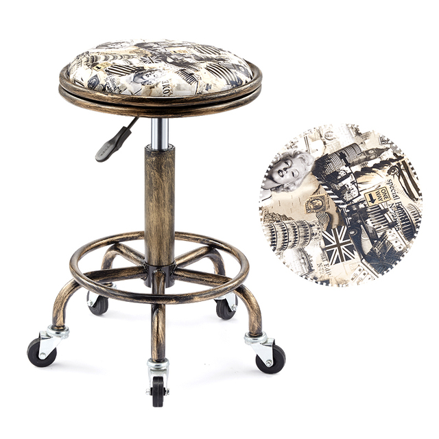 Beautifying stool lifting rotary hairdressing master stool anti-explosion corridor pulley round stool for hairdressing