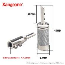 Xangsane 8pcs spina a banana placcata rodio in rame puro bianco/nero in fibra di carbonio con spina per cavo audio per altoparlanti hifi