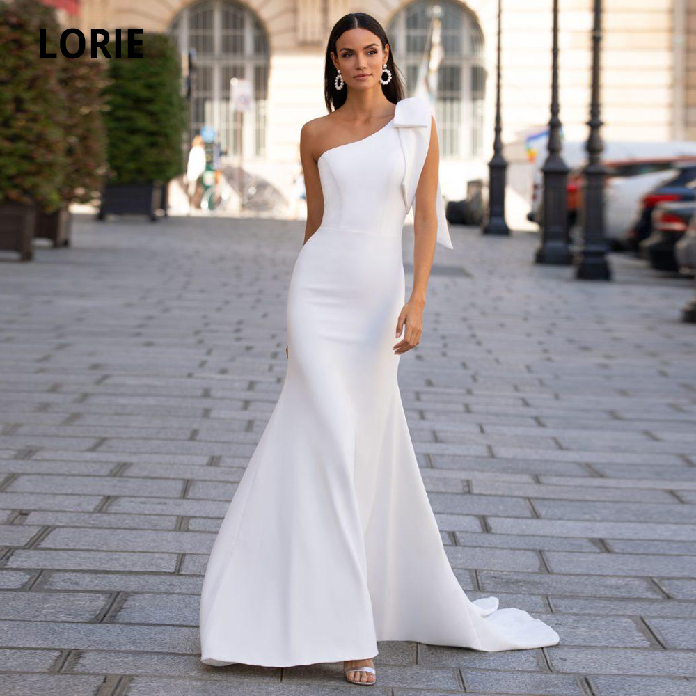 LORIE Soft Satin Mermaid Wedding Dresses Sexy One Shoulder Sleeveless Bridal Gown White/Ivory Beach Wedding Party Gown With Bow