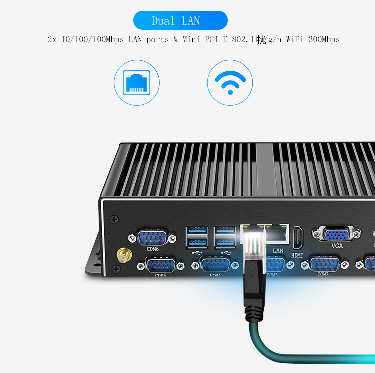 Wholesale Intel J1900 Quad Core Linux Mini PC 2 Lan Ports Fanless Barebone Computer