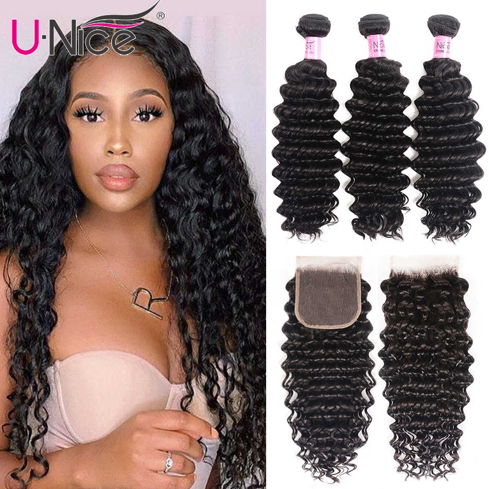 "UNice Hair Peruvian Deep Wave Bundles with Closure 4PCS 10-20 "" Human Hair Bundles With Closure Free Middle Part"