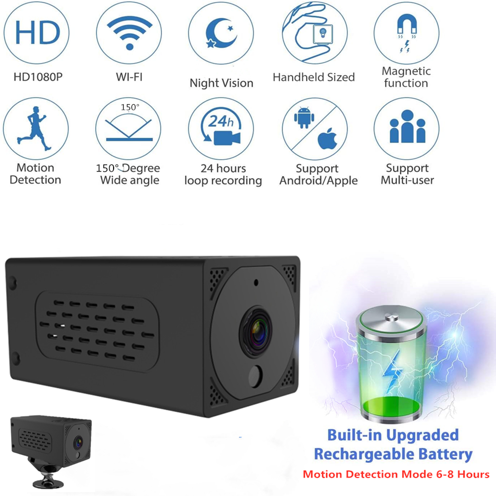 2000 mAh wifi Mini Camera 1080P Night Vision Magnetic Action Camera Wireless IP Remote Built-in Battery Cam Baby Monitor(China)