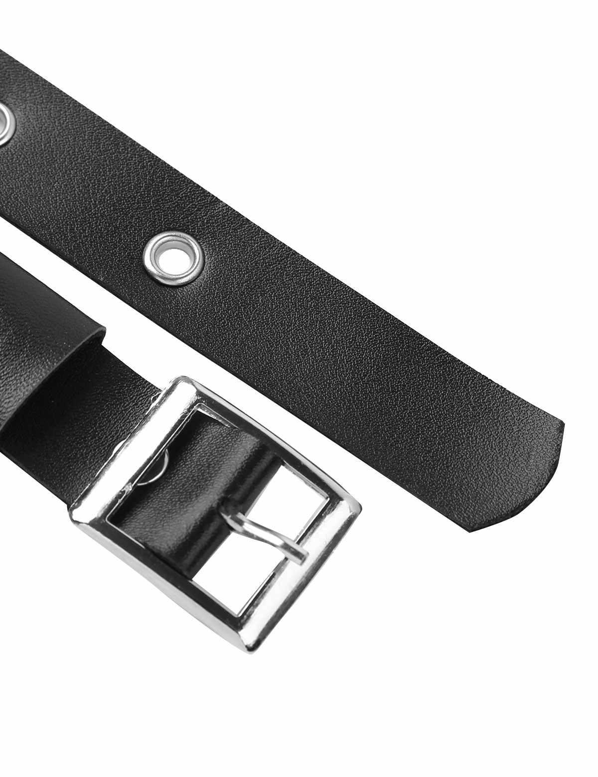 Mannen Zwart PU Lederen Body Borst Harnas Clubwear Kostuum Halter Verstelbare Gesp Riem Borst Harnas Riem met Metalen Ketting
