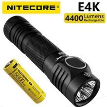 Оригинальный компактный фонарик NITECORE E4K 4400 люмен 21700 для повседневного использования с литий-ионной батареей 5000 мАч