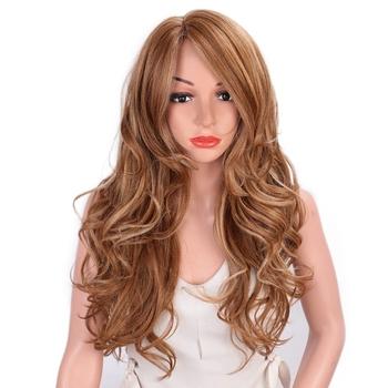 AISI QIEENS peruki syntetyczne dmuchane blond mieszane kolor długie faliste Mid Point peruki syntetyczne dla kobiet naturalną linią włosów pełne peruki tanie i dobre opinie AISI QUEENS Wysokiej Temperatury Włókna long Falista 1 sztuka tylko Średnia wielkość