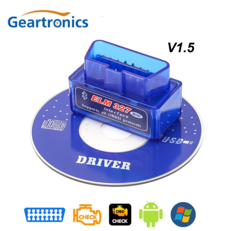<font><b>OBD2</b></font> <font><b>V1.5</b></font> <font><b>Elm327</b></font> Bluetooth V 1,5 OBD 2 Ulme 327 Auto Diagnose-Tool Scanner Ulme-327 OBDII Adapter super Mini Auto Diagnose Werkzeug image