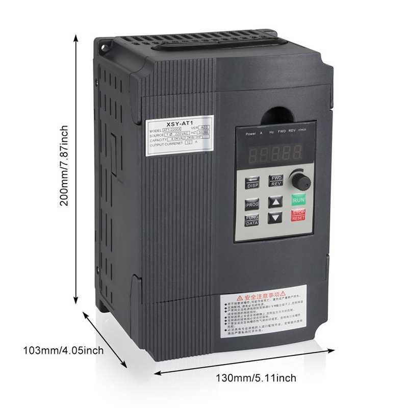 محول تردد متغير ، Vfd عاكس التردد محول 2.2Kw 3Hp 220 فولت 12A للتحكم في سرعة المحرك المغزل (Vfd-2.2Kw)