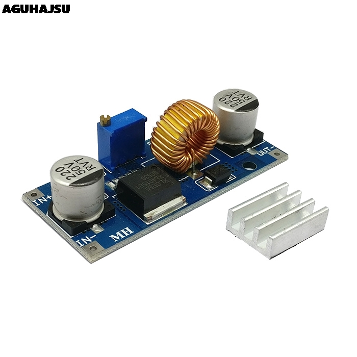 1PCS 5A XL4015 DC-DC 4-38V to 1.25-36V 24V 12V 9V 5V Step Down Adjustable Power Supply Module LED Lithium Charger With Heat Sink