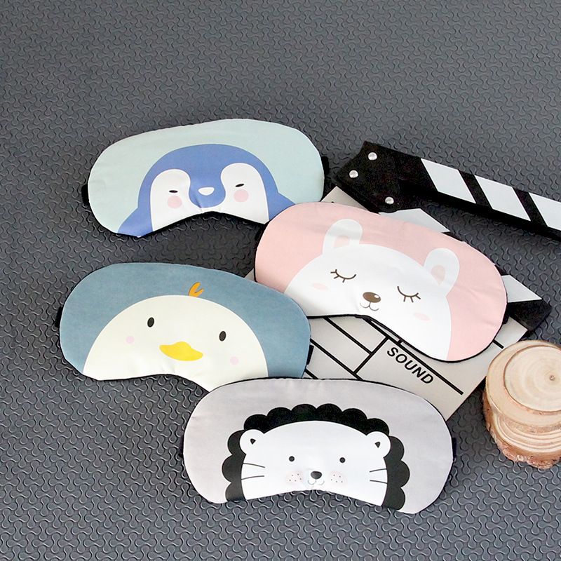 Silk Eye Cover Cute Cotton Cartoon Eye Shade Sleeping Mask Sleep Mask Rest Eyepatch Travel Eye Band Kids Sleeping Aid Blindfolds
