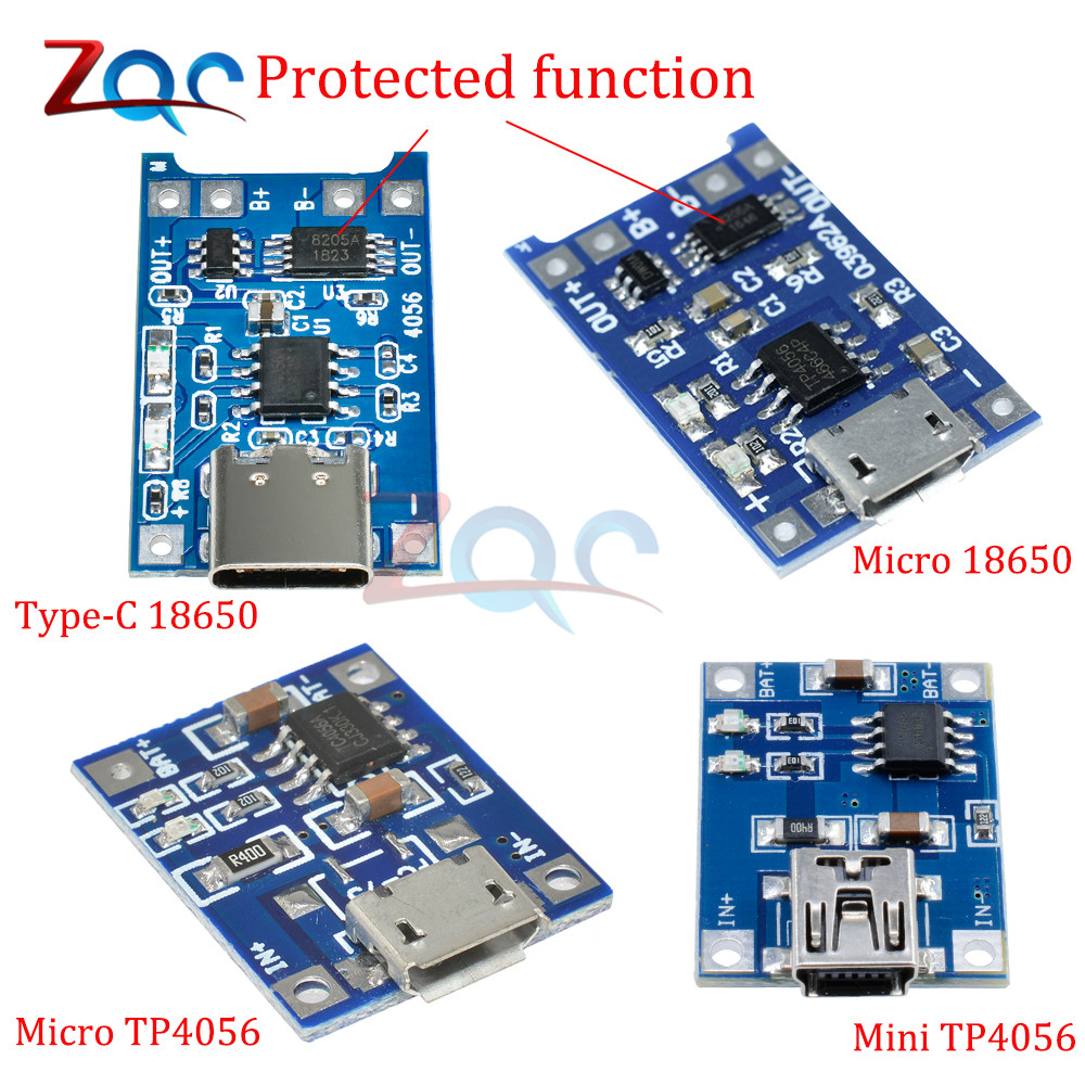 5pc Type-c Micro Mini USB 5V 1A 18650 TP4056 Li-ion Lithium Battery Charger Module Charging Board Connector Protection Functions