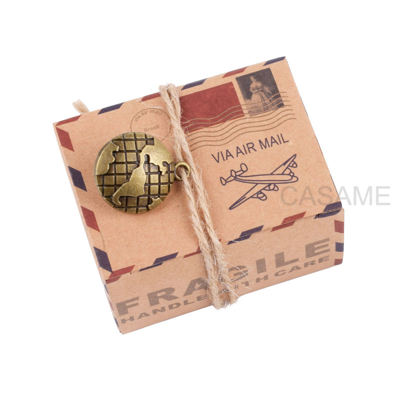 50Pcs  Paper Vintage Favors Candy Box Kraft Paper Travel Theme Airplane Air Mail Boxes Compass Earth Wedding Party Souvenirs