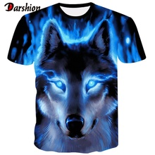 Latest Wolf 3D Printing Animal Cool Funny T-shirt Mens Short