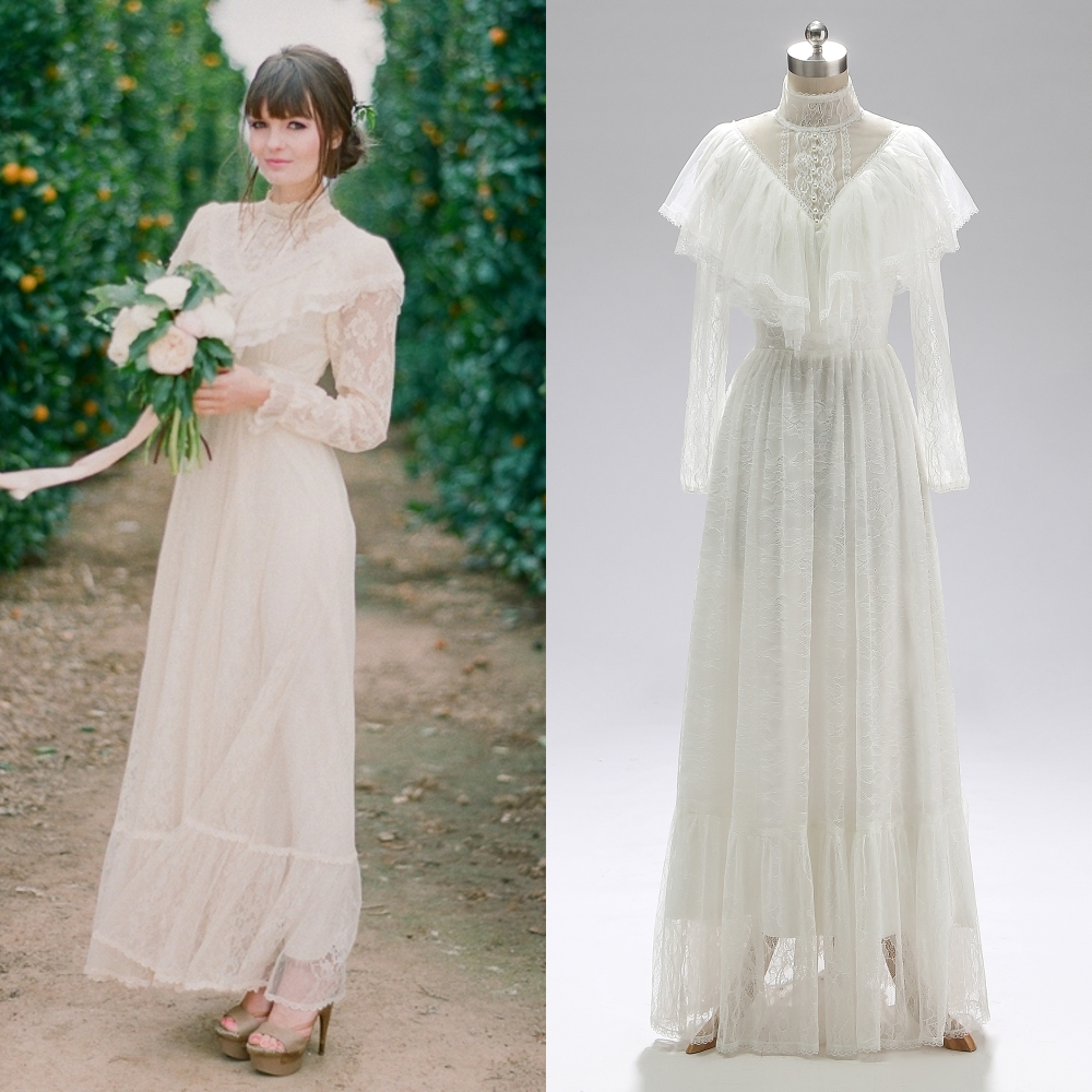 Victorian era Long Sleeve LACE Bridal Gown Tea-Length Wedding Dress(China)
