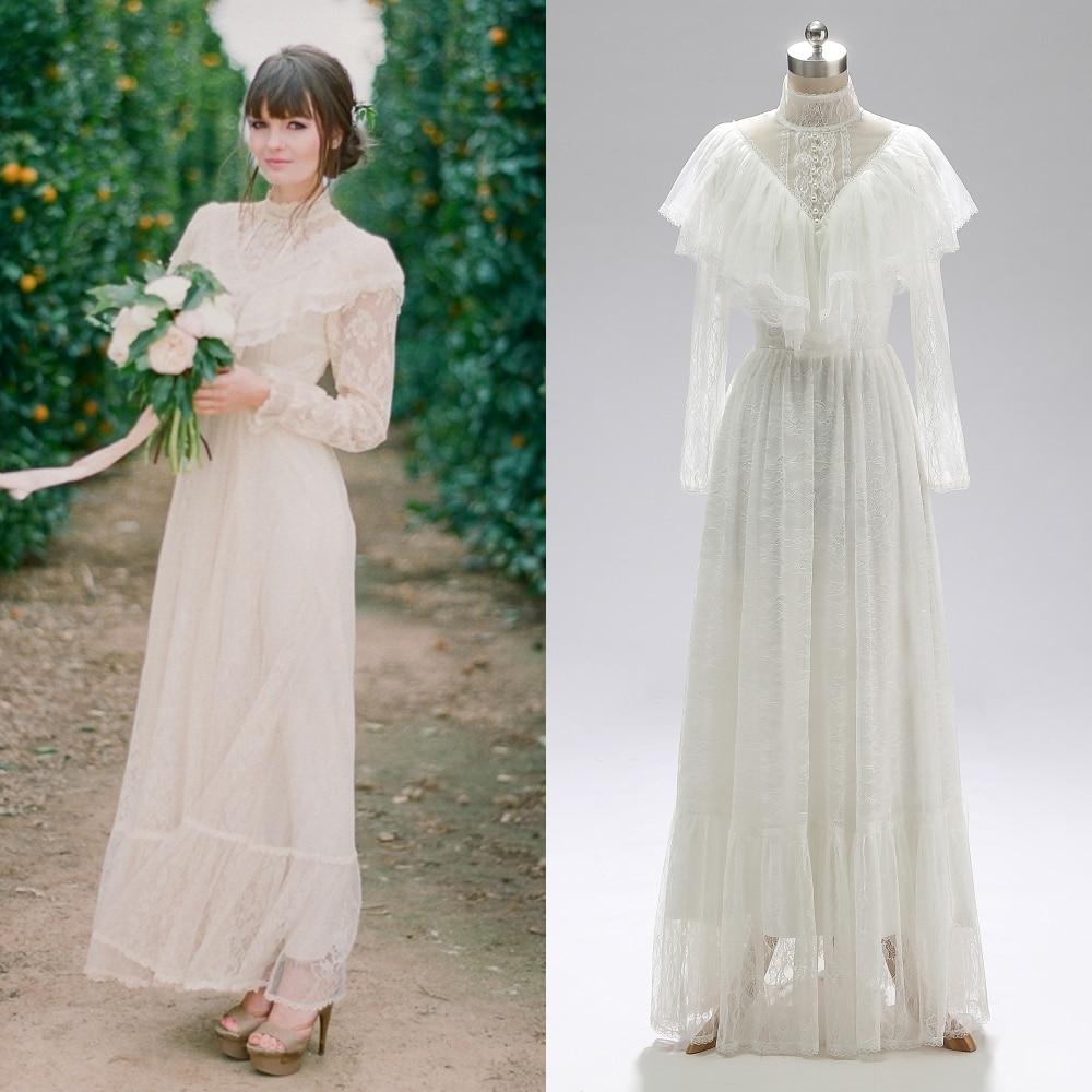 Victorian Era Long Sleeve LACE Bridal Gown Tea-Length Wedding Dress