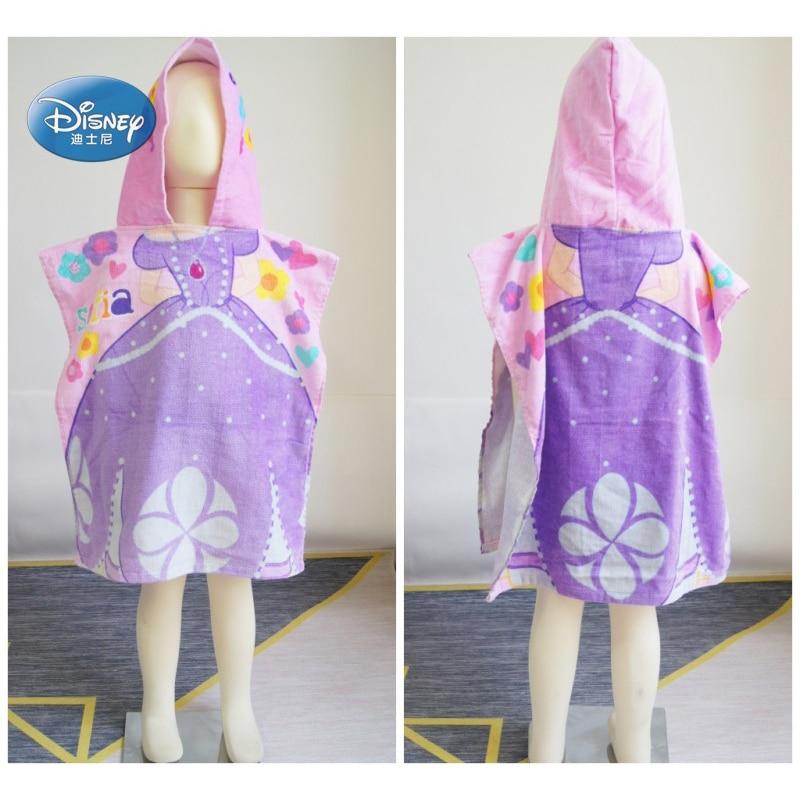 Disney 100% Cotton Sofia Princess Baby Girls Fashion Hooded Towel Cloak Absorbent Bathrobe Toddler Baby Bath Towels 50X115cm