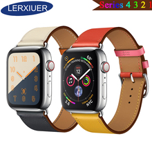 Lerxiuer Strap for apple watch Band 4 3 42mm 44mm iwatch band 42mm 38mm Genuine Leather Single tour bracelet Wristband Watchband genuine leather watchband strap for apple watch band 42mm 38mm