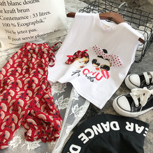 Summer Girls' Clothing Sets Fashion Korean Cartoon Bowknot Vest+ Cropped Trousers 2PCS Baby Kids Clothes Suit Children Clothing 2019 new boy clothes shirt sweater baby clothes fashion trousers kids vest trousers three piece suit baby leisure kids clothing