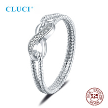 цена на CLUCI Real 925 Sterling Silver Zircon Trendy Infinity Love Rings for Women Wedding Engagement Gift Jewelry