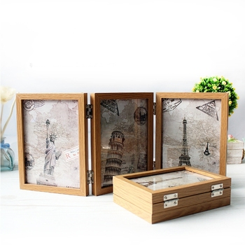 Retro double-sided triple-fold composite photo frame Hinged Picture Frame with Glass Front Made to Display Stands Verti image