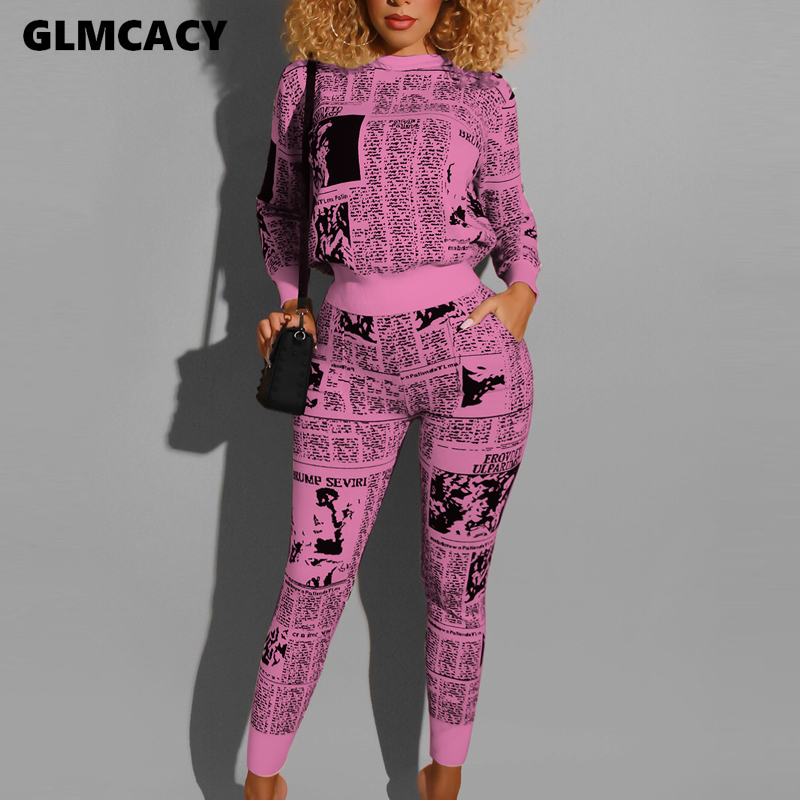 Women Newspaper Print Two Piece Sets O Neck Sweatshirt Pullovers And Pants Set  2 Piece Outfits Tracksuit Streetwear
