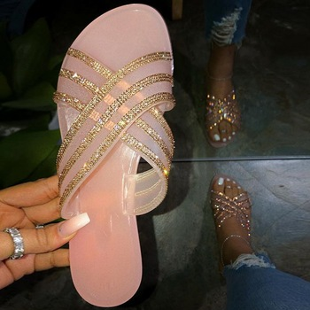 Summer Shoes Woman Sandals For Women 2020 Bling Flat Rhinestone Ladies Beach Sandles Designer Luxury Sandalias Mujer Sandels цена 2017