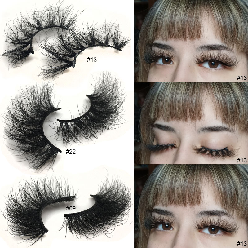 False Eyelashes 25 Mm Mink Lashes Dramatic Long Fluffy Messy Eyelashes Makeup 3D Lashes 25mm Mink Eyelashes Wholesale