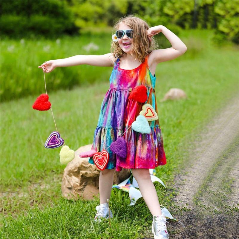 Summer Kids Baby Sleeveless Girls Dress Tie dye Dress Rainbow New Year Party Little Princess Costume Children Beach Clothes 1