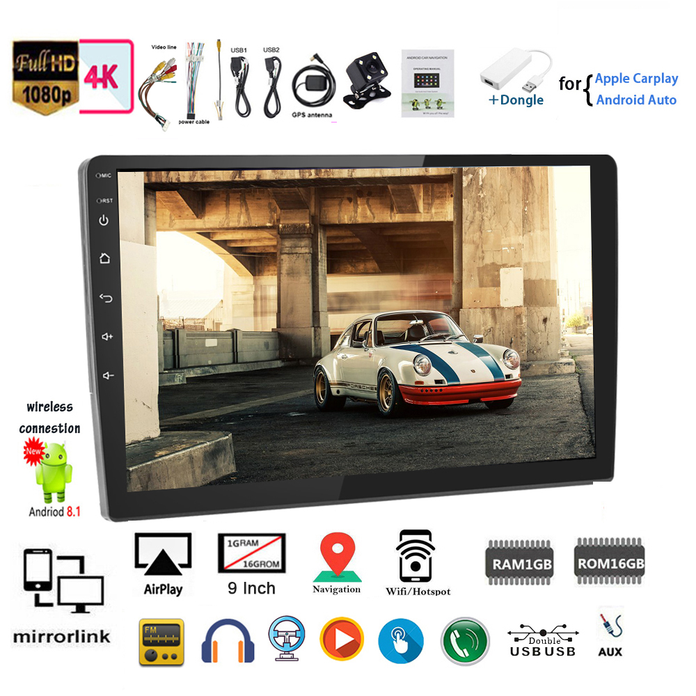 CAM Touch Wifi iOS Mirror Link BT FM 9/'/'2 Din GPS Android Car Radio for VW//Seat