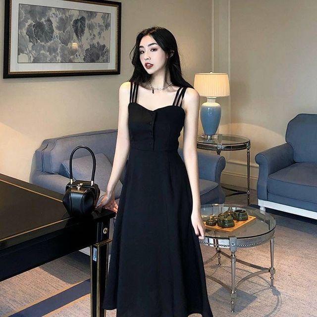 2021 summer new black fashion temperament slim slim dress sexy suspender dress long strapless dress 3