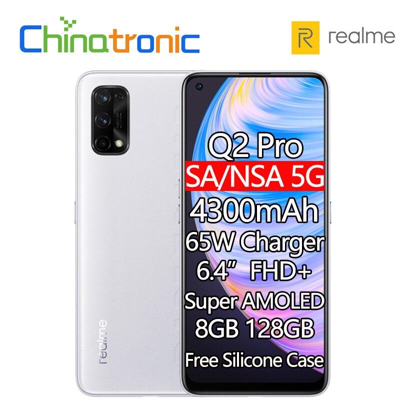 "Novo realme q2 pro 8gb 128gb 5g telefone móvel 6.4 ""fhd + super amoled octa núcleo 4300mah bateria 48mp quad câmera 65w carregador rápido"