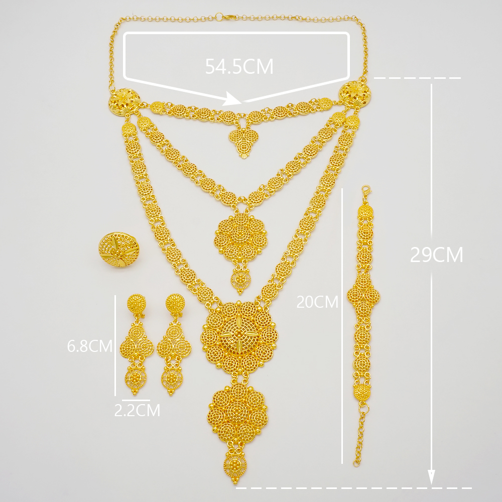 Dubai Jewelry Sets Gold Necklace & Earring Set For Women African France Wedding Party 24K Jewelery Ethiopia Bridal Gifts 6