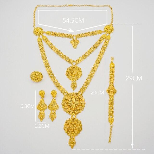 Dubai conjuntos de jóias colar de ouro & brinco conjunto para as mulheres africano frança festa de casamento 24k jóias etiópia presentes de noiva 6
