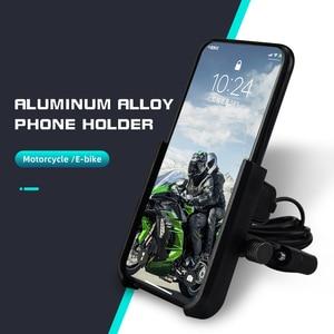 Image 2 - Aluminiowy uchwyt na telefon do motocykla USB uchwyt z ładowarką 360 stopni motocykl motor kierownica rearview telefon wsparcie góra