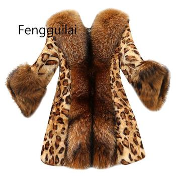 Women Leopard Coat Faux Fur Imitation Raccoon Fur Collar Medium Long Coat Teddy Jacket Veste Fourrure Femme Manteau Fourrure thicken fur faux fur coat female korean version of the fashion slim in the long hooded raccoon fur fur coat womens fur jacket