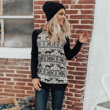 Autumn Sweatshirt Women Christmas Splice Festival Sweatshirt Print Pocket Pullover Tops Outdoor Streetwear Female Clothing цена