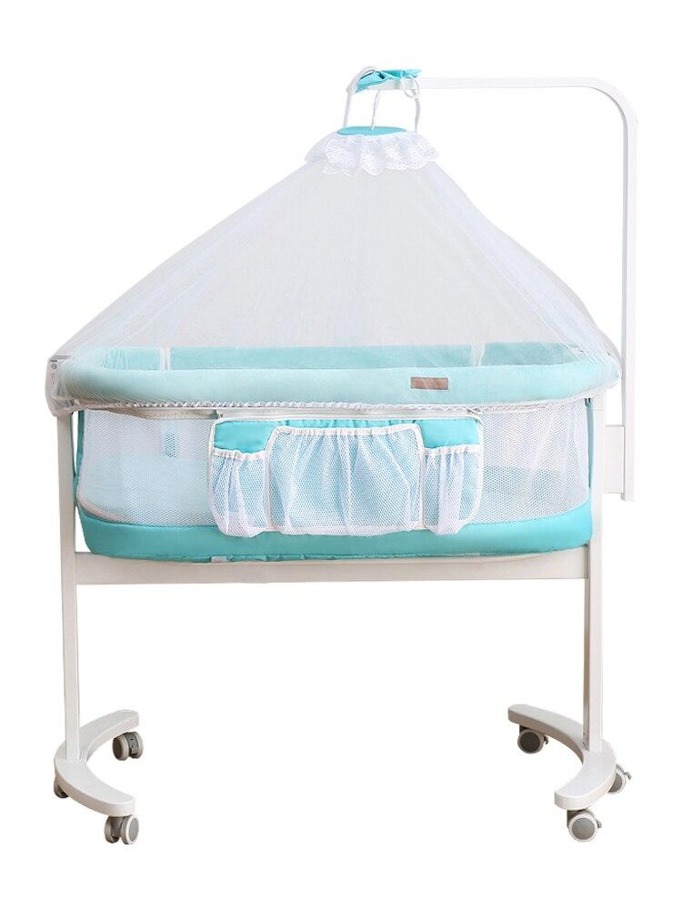 Crib Small Shaker Newborn Baby Multi-functional Crib With Roller