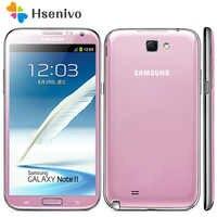 """100% oryginalny N7100 odblokowany Samsung Galaxy Note 2 II N7100 telefon komórkowy 5.5 """"czterordzeniowy 8MP GPS WCDMA odnowiony smartfon"""