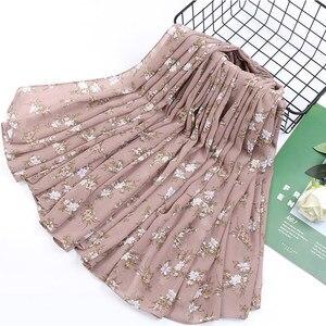 Image 5 - 115cm Printe chiffon Platz hijab schal chiffon wraps blume schals muslimischen leichte stirnband wraps islamischen schals 10 teile/los