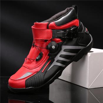 Nowe buty motocyklowe męskie oddychające Botas obuwie na motor Hombre buty motocyklowe motocyklowe Biker buty jeździeckie Touring buty do kostki tanie i dobre opinie CN (pochodzenie) Skórzane ANKLE Wodoodporna Mężczyźni Red Black blue 37-38-39-40-41-42-43-44-45-46-47-48