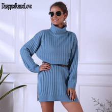 Forefair Oversized Knitted Dress Sweater Autumn 2020 Solid Long Sleeve Casual Elegant Mini Warm Winter Turtleneck Dress Women elegant turtleneck long sleeve bodycon knitted midi dress autumn winter new solid casual high stretchy office lady dress vestido
