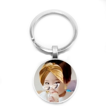 Character Photo Badge Logo Team Custom Keychain Dad Mother Grandparents Kids Glass Convex Key Ring