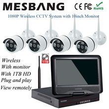 2MP wireless wifi IP CCTV Camera system kits 1080P outdoor security survaillance camera kits with 10inch monitor 1T HDD