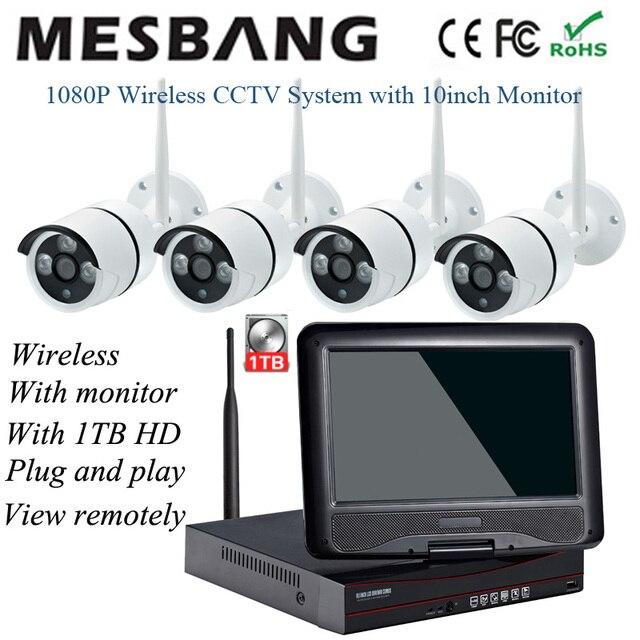 Комплекты беспроводных Wi Fi IP камер 2 МП для систем видеонаблюдения 1080P Комплекты наружных камер безопасности с 10 дюймовым монитором 1T HDD