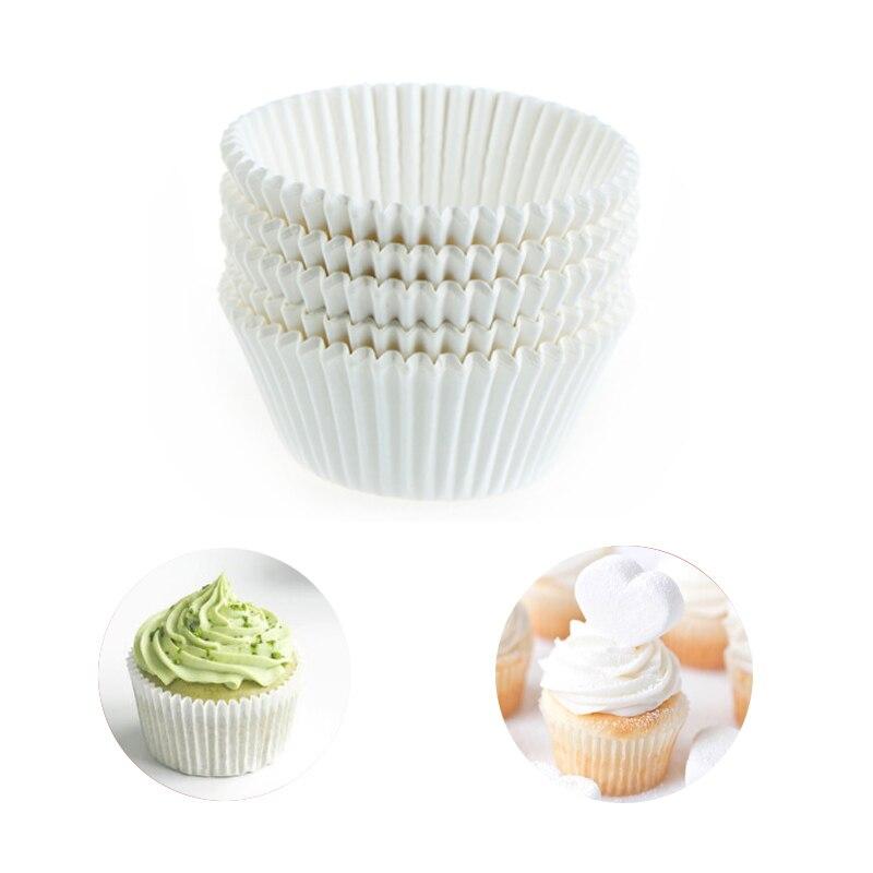 100 pçs/lote branco puro cupcake forros copo de papel de grau alimentício bolo cozimento copo muffin cozinha cupcake casos moldes bolo| |   -