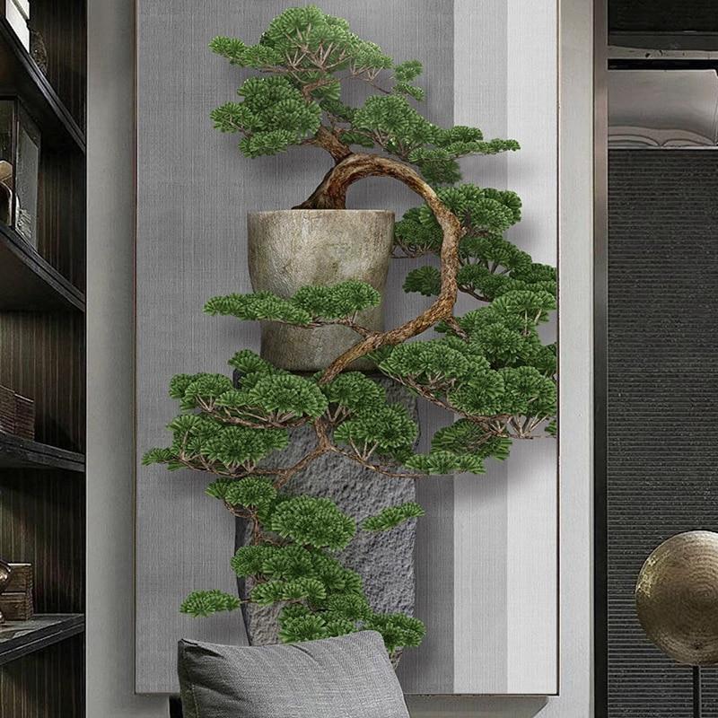 Foto personalizada, nuevo estilo chino, 3D estereoscópico, pino verde, árbol de entrada, pared del porche, pintura decorativa, Gran Mural, papel tapiz, arte