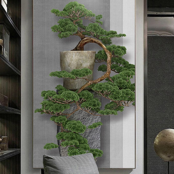 Custom Photo New Chinese Style 3D Stereoscopic Green Pine Tree Entrance Porch Wall Decorative Painting Large Mural Wallpaper Art