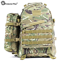 PROTECTOR PLUS 55L Tactical Military Backpack 1000D Nylon Waterproof Army Camo Rucksack Travel Hiking Camping Outdoor Sport Bag