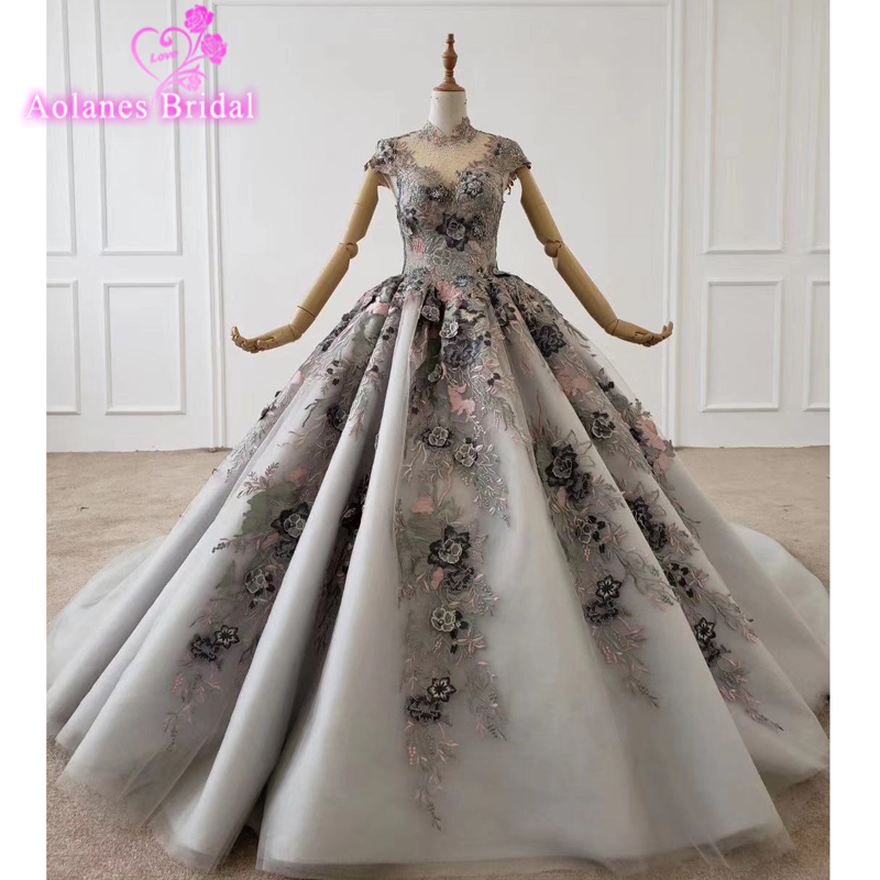 Gray Lace Ball Gown 2020 New Arrival Prom Dresses Butterfly Puffy Tulle Crystals Long Sleeves Evening Gowns Cheap Formal Dresses
