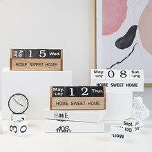 Скандинавские простые ins ветер стерео английский деревянный календарь декоративное украшение-календарь креативные домашние Обои для рабочего стола