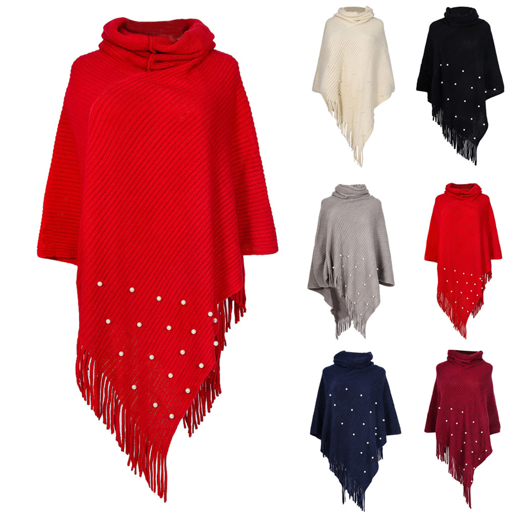 Women Autumn Winter Fashion Knitted Cashmere Poncho Capes Shawl Loose Sweater Coat Wholesale Free Shipкофта женская Z4